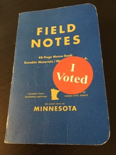 I Voted sticker on the front cover of a Field Notes MN County Fair edition