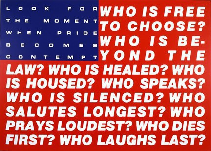 American flag overlaid with these words: Who is free to choose? Who is beyond the law? Who is healed? Who is housed? Who speaks? Who is silenced? Who salutes longest? Who prays loudest? Who dies first? Who laughs last? (Look for the moment when pride becomes contempt)