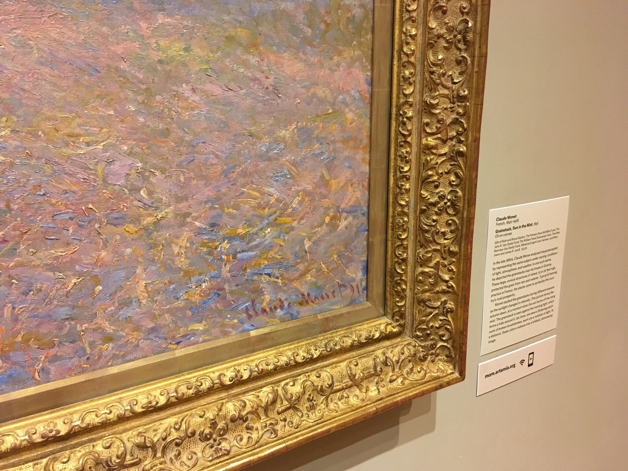 bottom corner of monet painting showing only signature