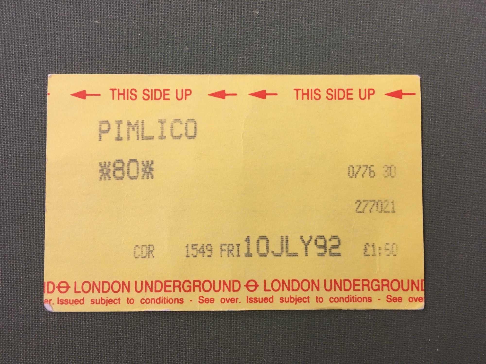 london underground metro pass for pimlico station dated 10 july 92