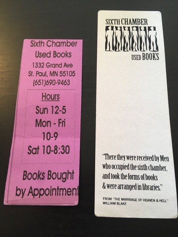 two bookmarks from Sixth Chamber Used Books in St Paul MN