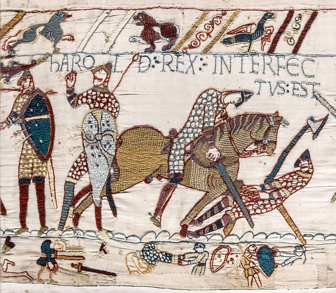 Detail of the Bayeux Tapestry depicting the battle of hastings (and, elsewhere, Halley's Comet)