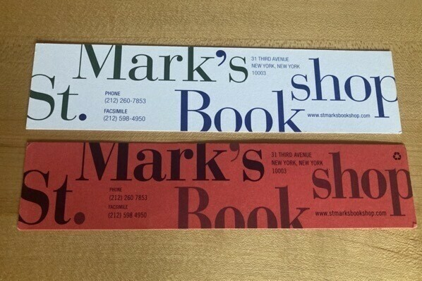 Two bookmarks from the late St Mark's in Manhattan