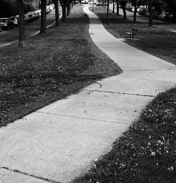 A sidewalk down a greenway bewteen two one way streets
