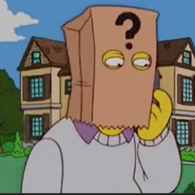 Animated Pynchon on the Simpsons wearing a paperbag over his head with a big question mark on the front