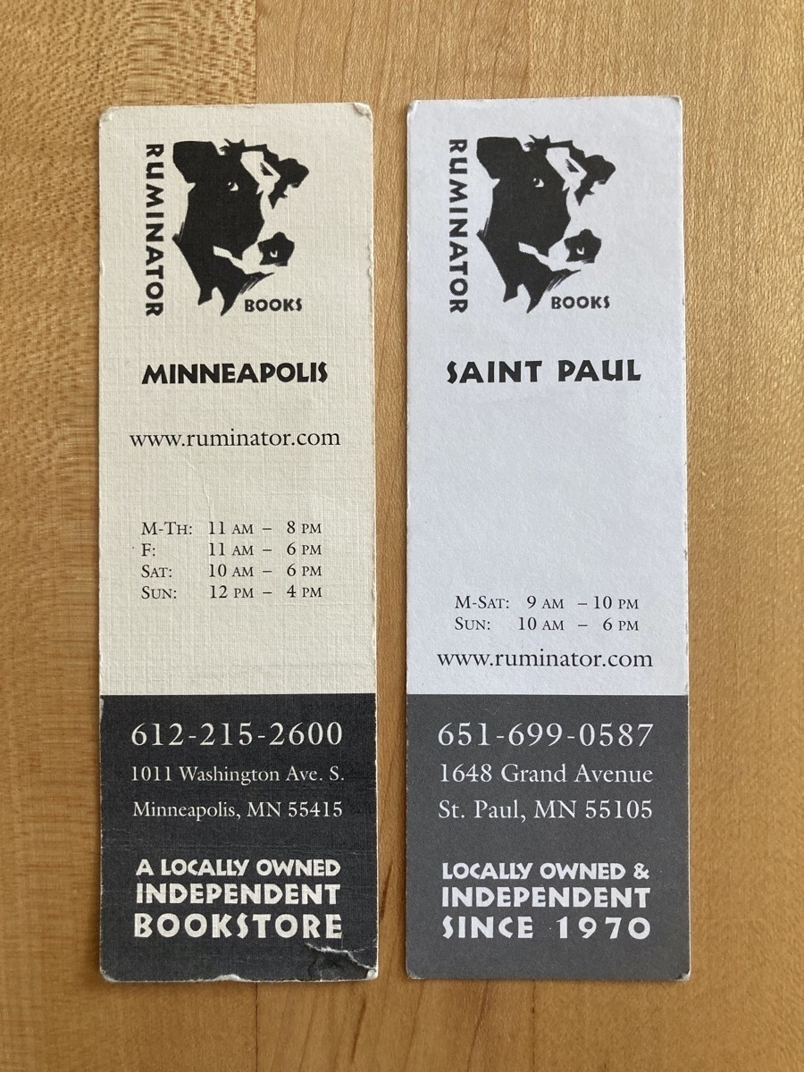 Two bookmarks from Ruminator Books