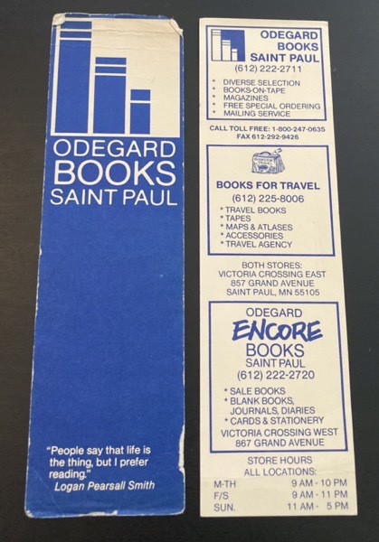 Two bookmarks from Odegard Books in St Paul