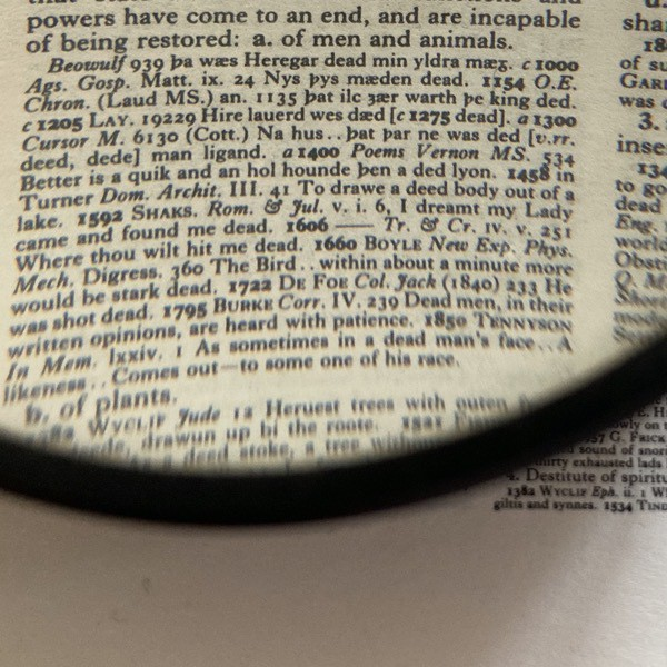 close-up of a dictionary definition, incapable of being restored