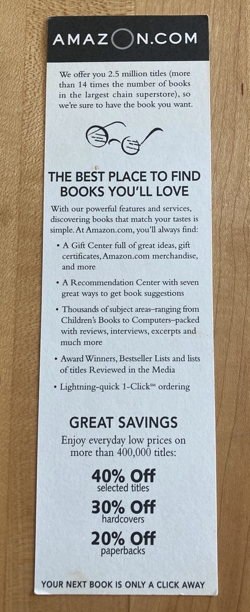 A bookmark from Amazon dot com