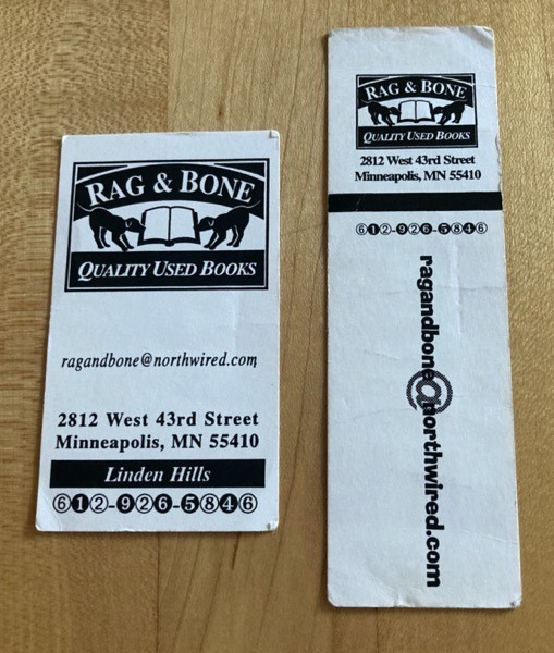 Bookmark and business card from Rag and Bone in Minneapolis