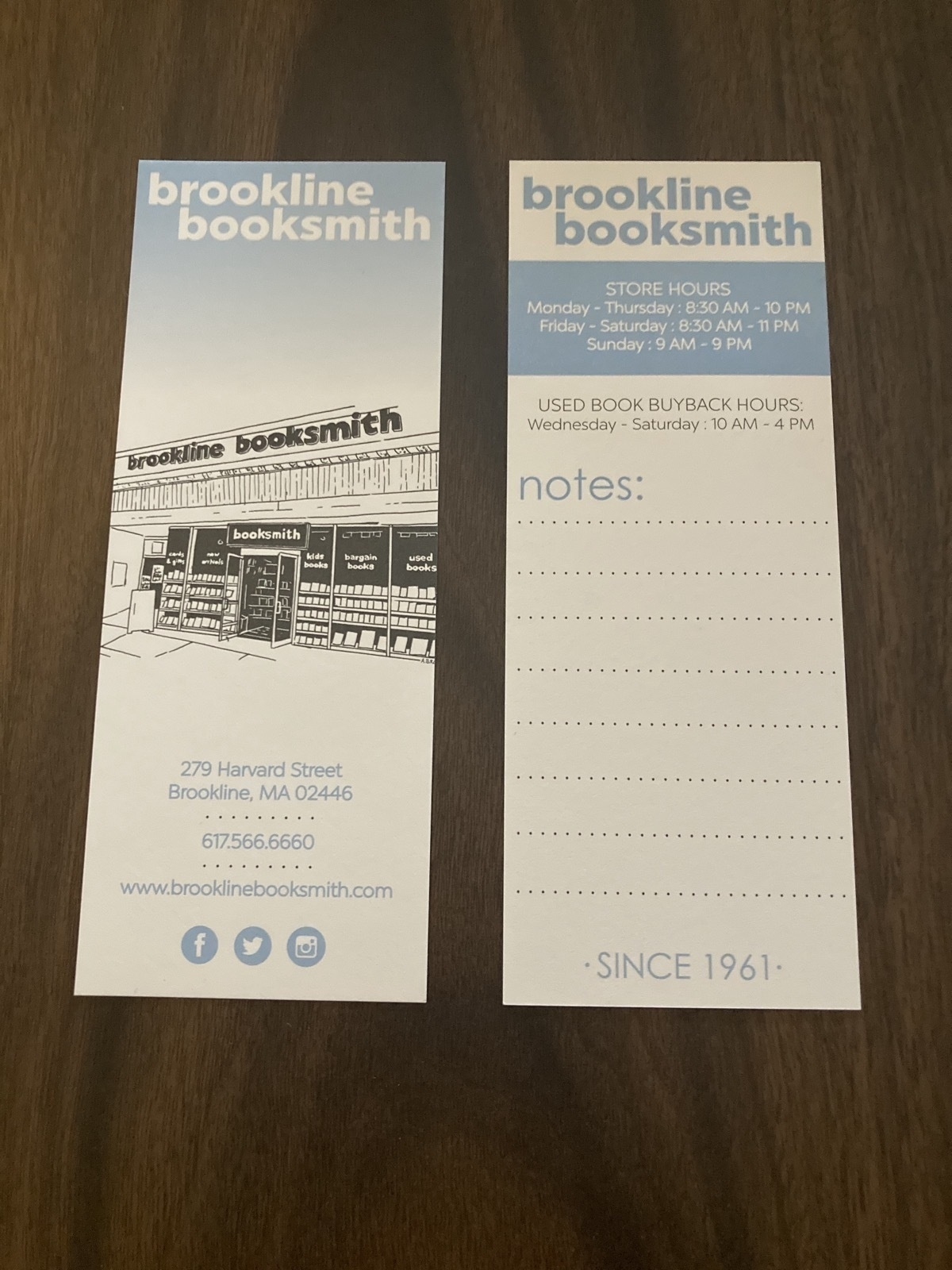 two bookmarks from Brookline Booksmith